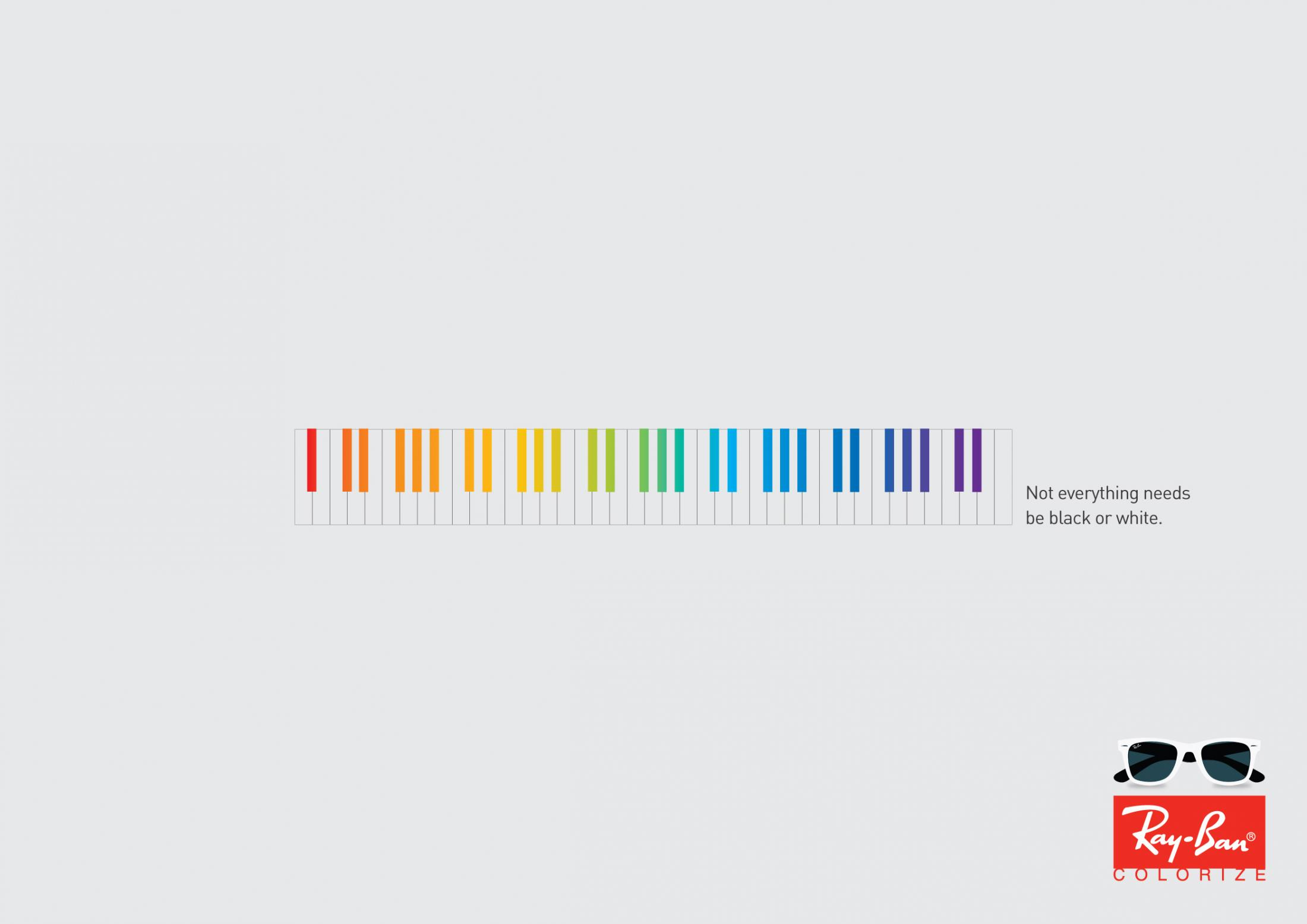 Ray-Ban Print Ad -  Black or White, Piano keys