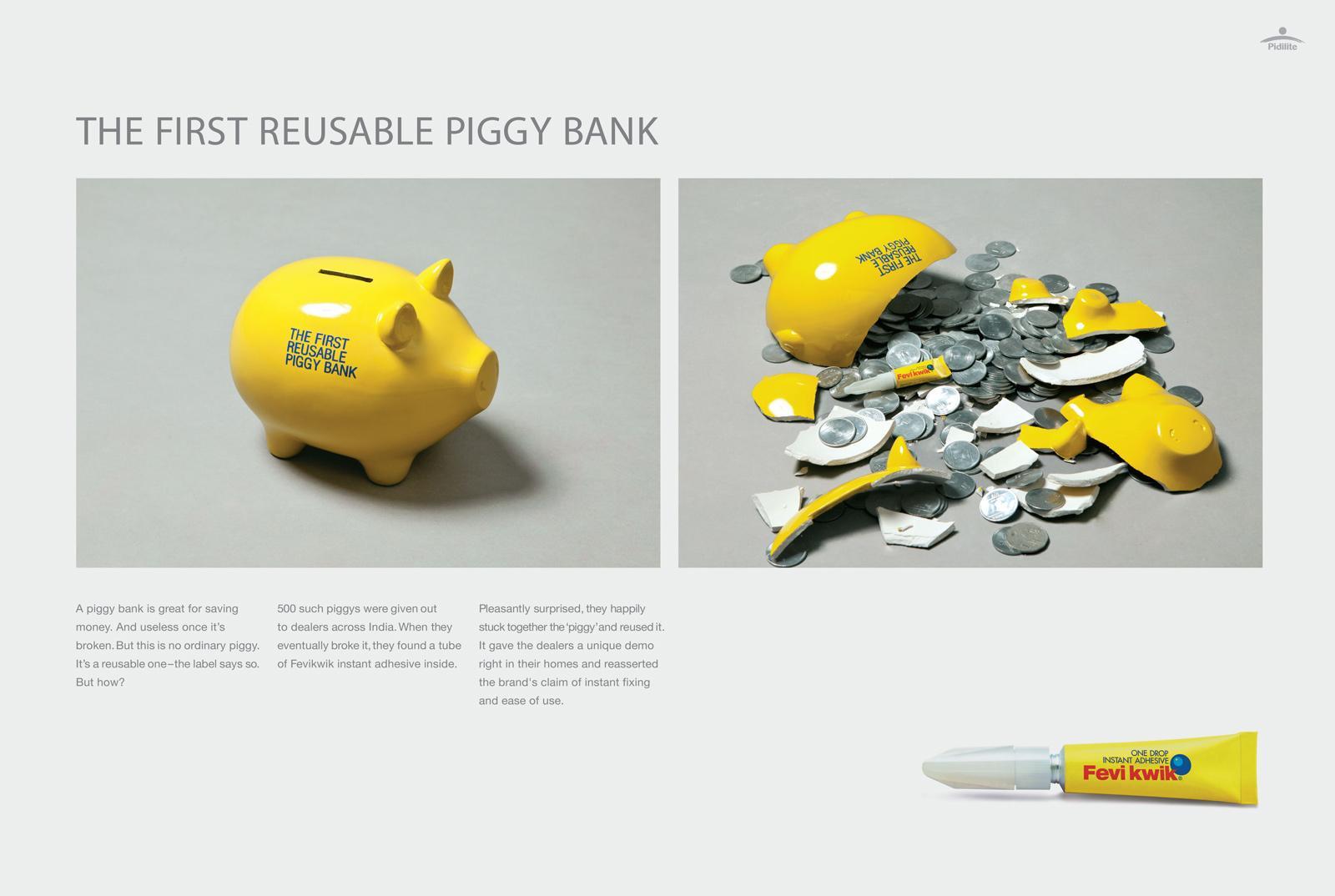 Fevi Kwik Direct Ad -  The First Reusable Piggy Bank