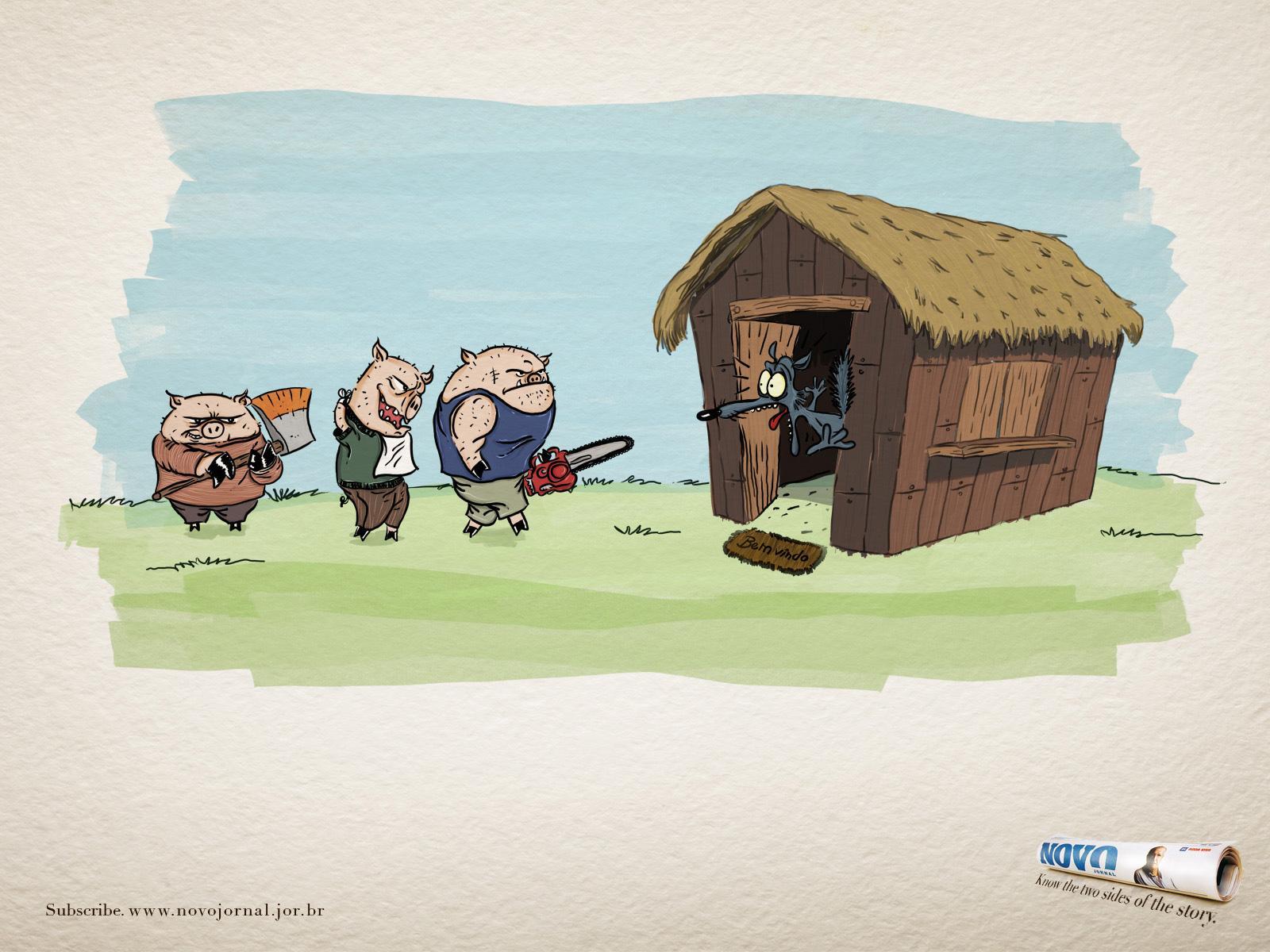 Novo Jornal Print Ad -  Three Little Pigs