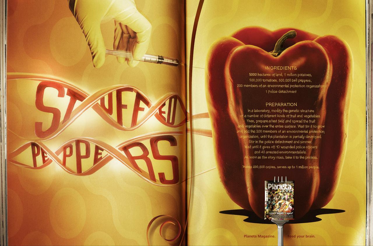 Revista Planeta Print Ad -  Recipes, Stuffed Peppers