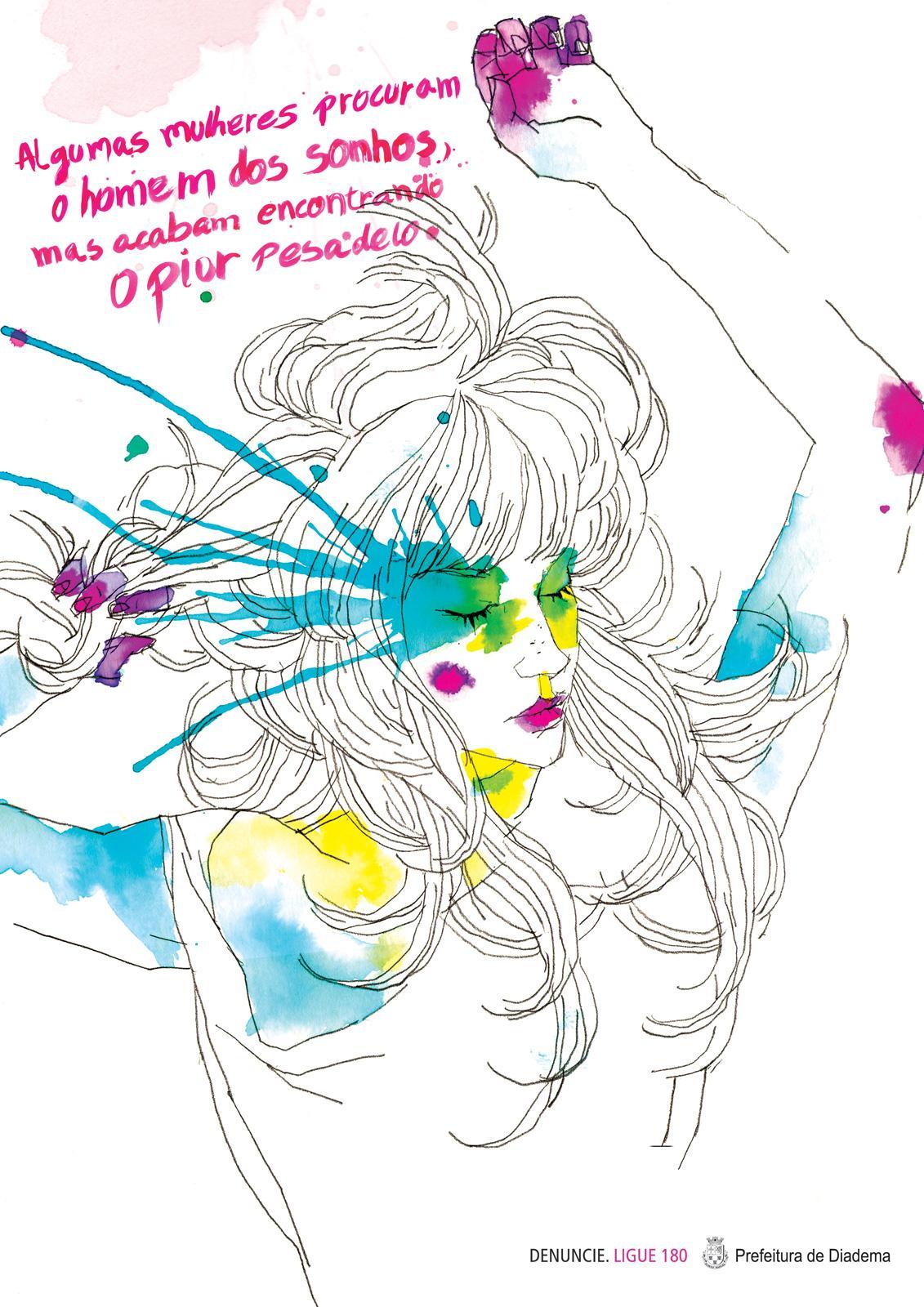 Diadema City Print Ad -  Violence against women, Pink