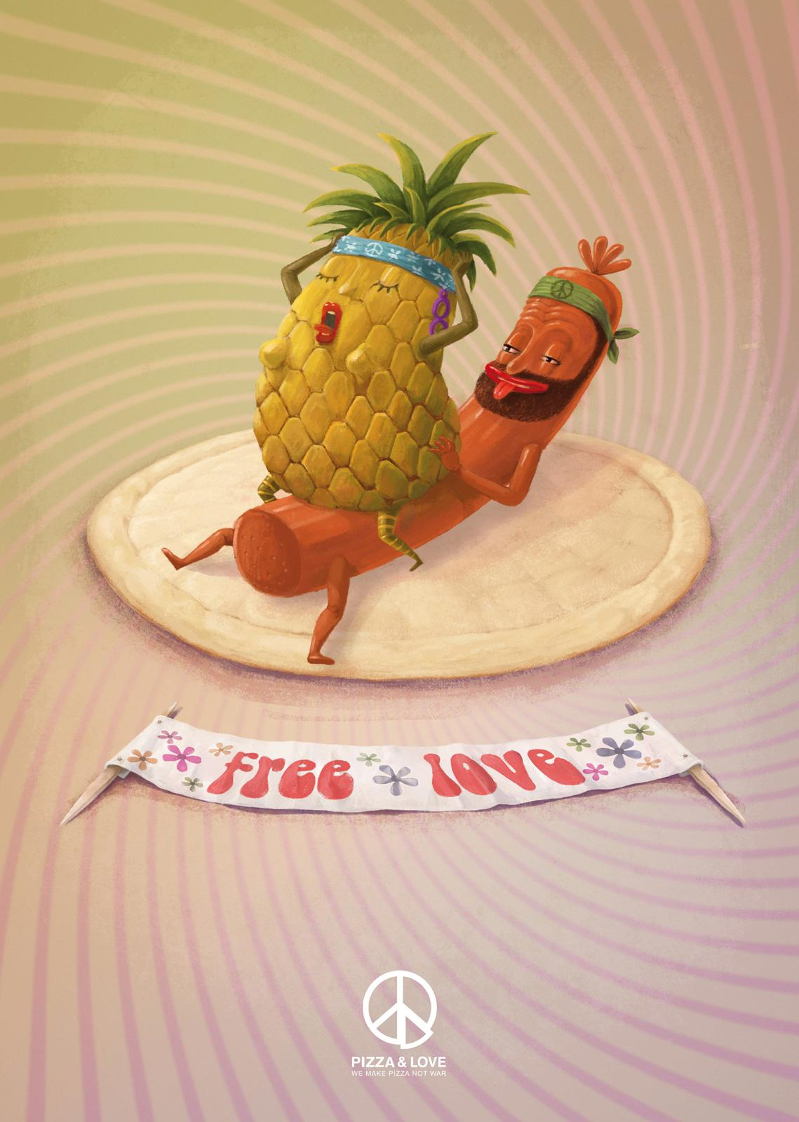 Pizza&Love Print Ad -  Pineapple