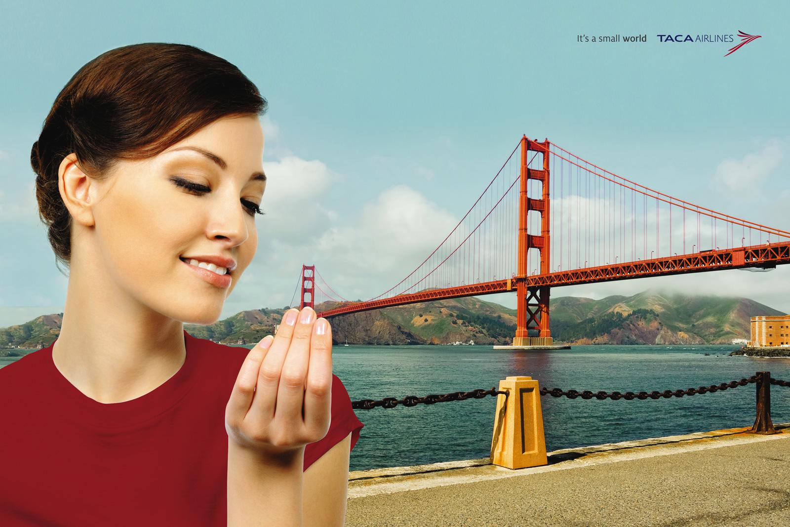 TACA Airlines Print Ad -  Small San Francisco