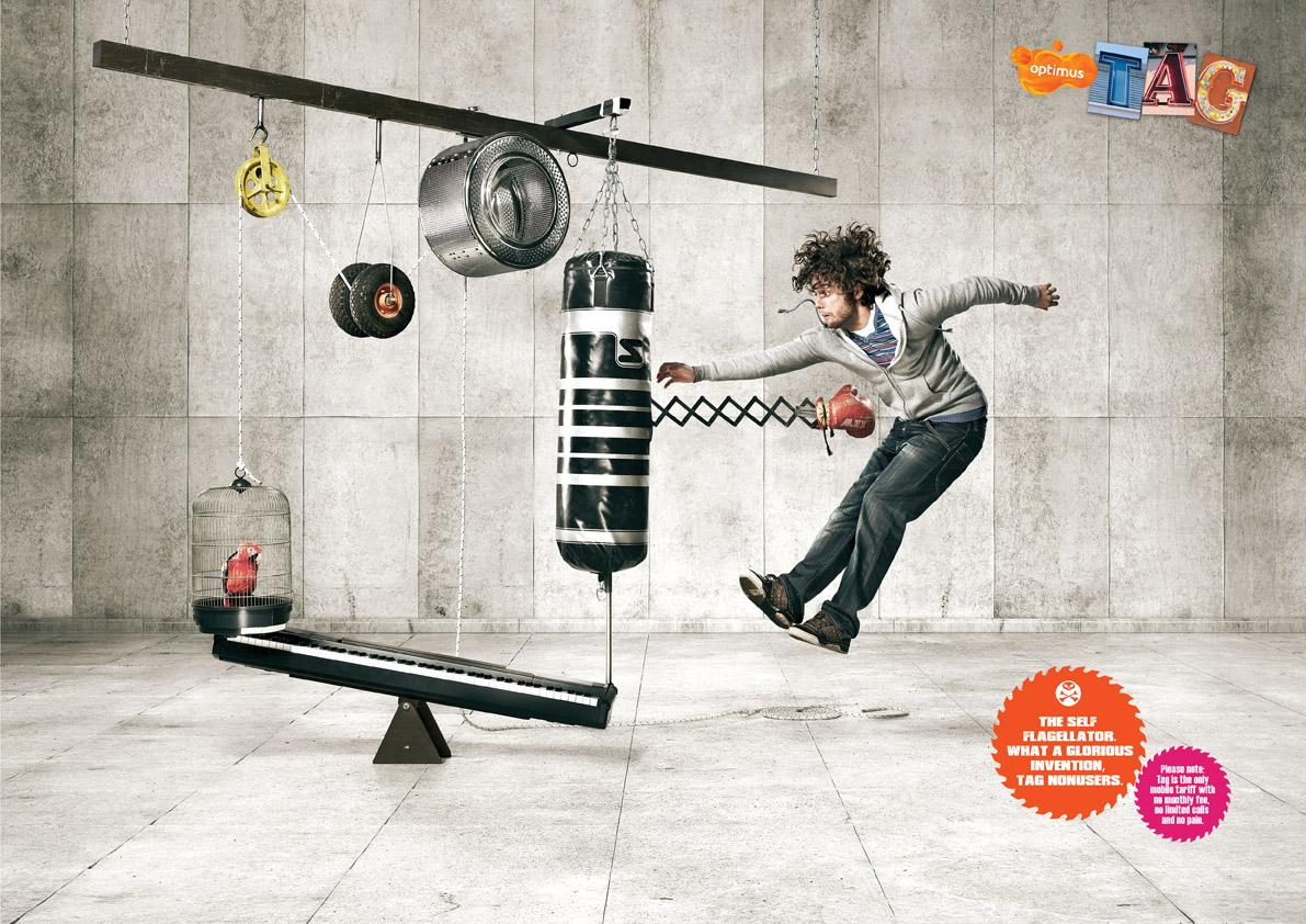 Optimus Print Ad -  Self Flagellation Machines, Box