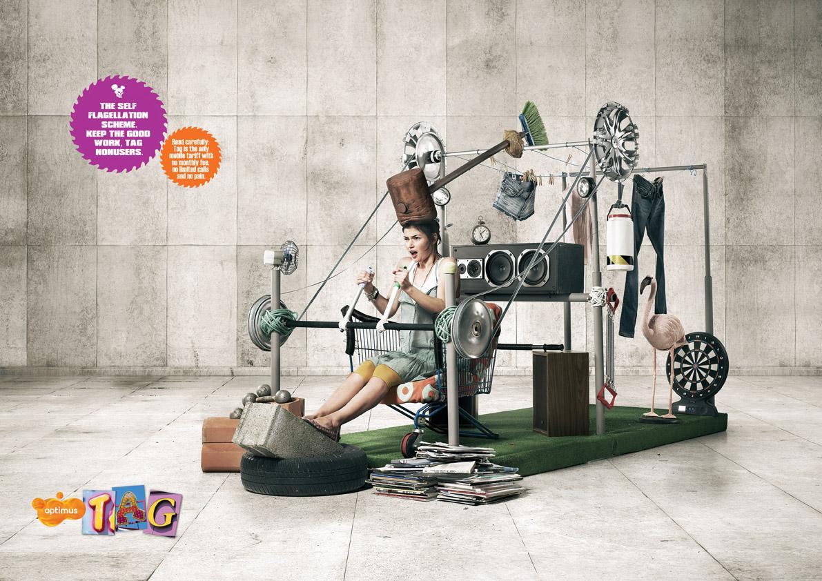 Optimus Print Ad -  Self Flagellation Machines, Hammer