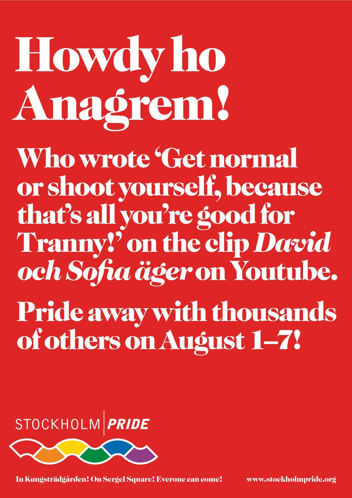 Stockholm Pride Print Ad -  Anagrem