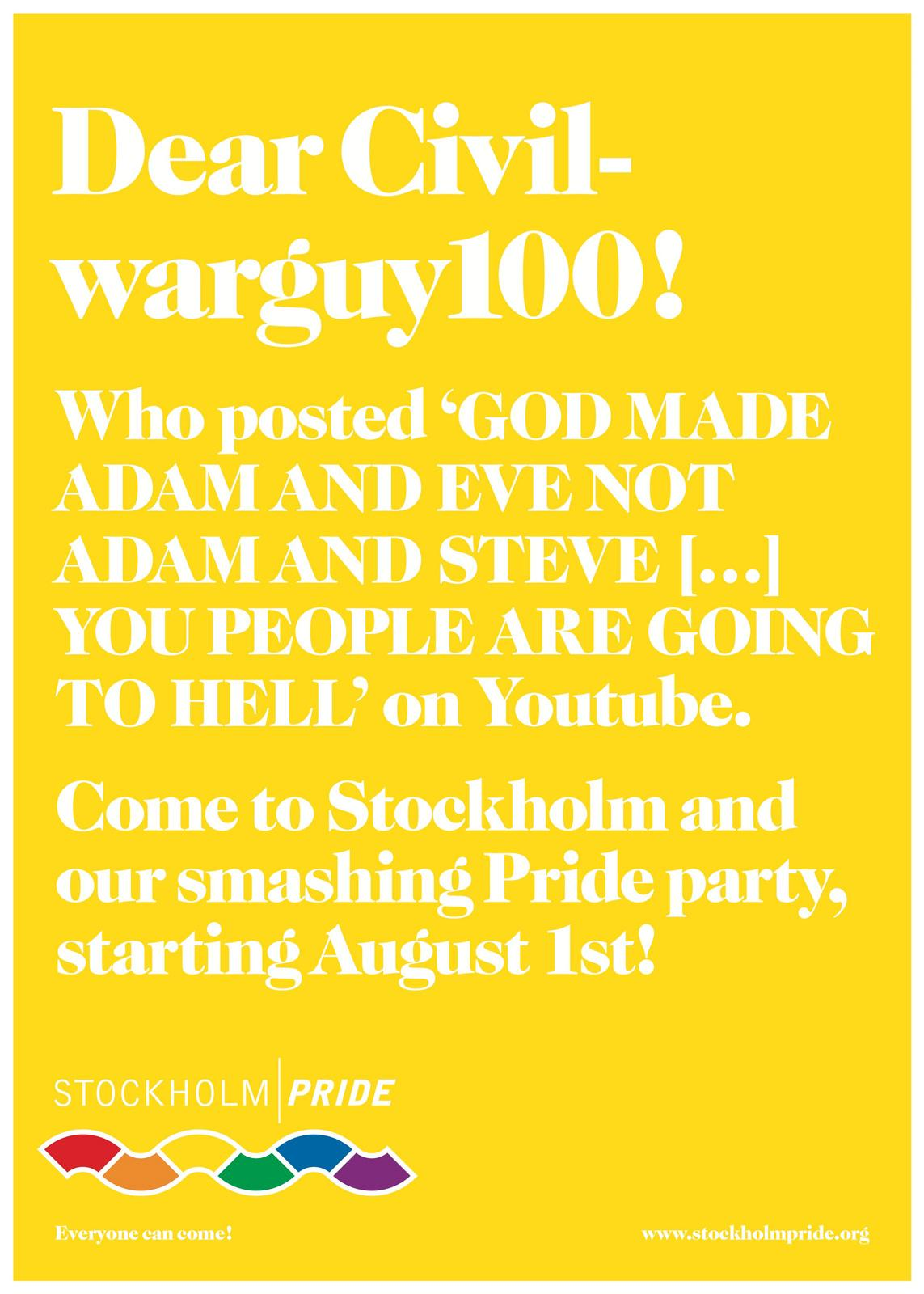 Stockholm Pride Print Ad -  Everyone's invited