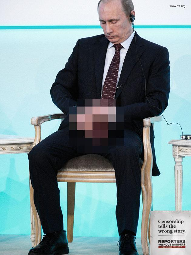 Reporters Without Borders Print Ad -  Censorship tells the wrong story, Putin