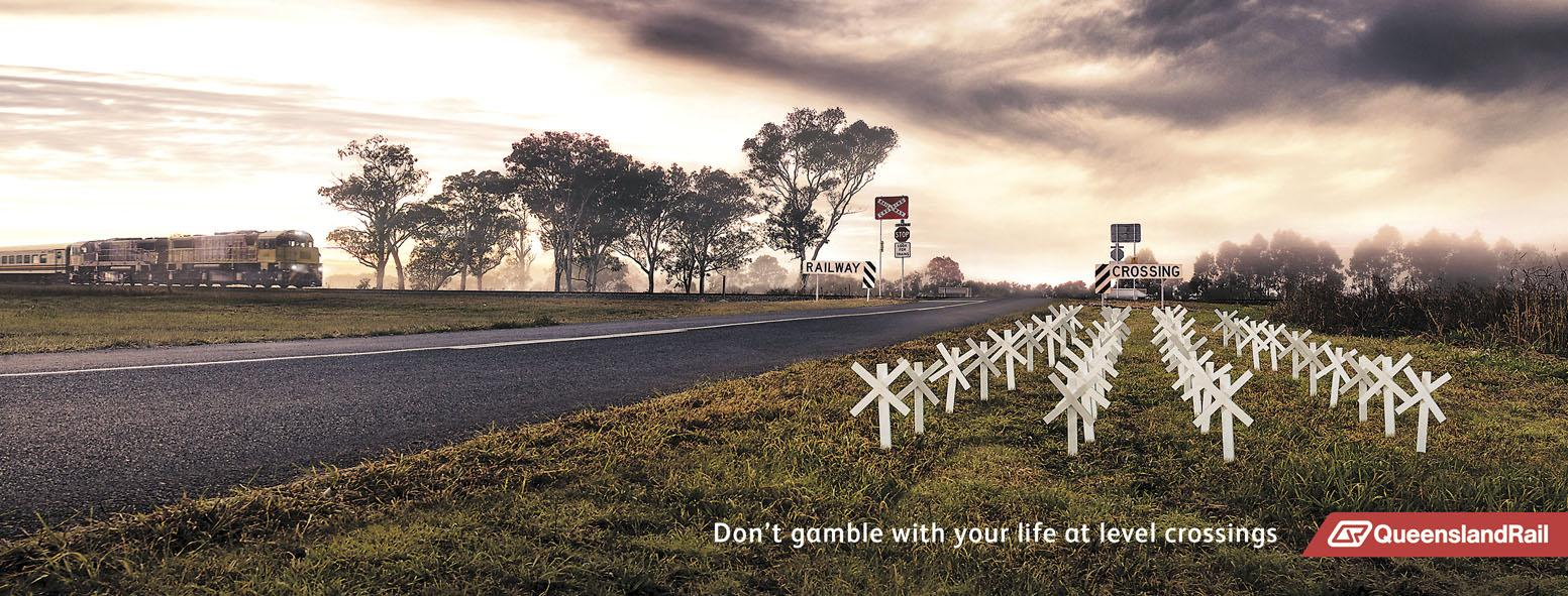 Queensland Rail Outdoor Ad -  Crosses