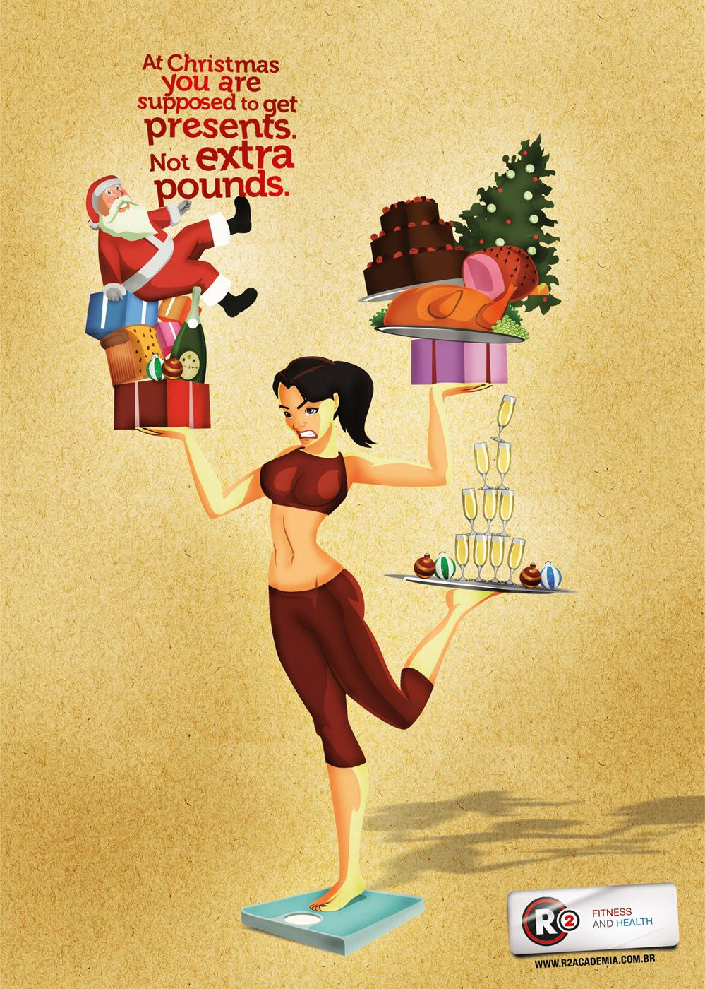 R2 Fitness Club Print Ad -  Christmas Girl