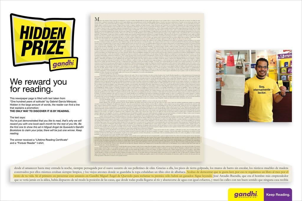 Gandhi Bookstores Direct Ad -  Hidden Prize