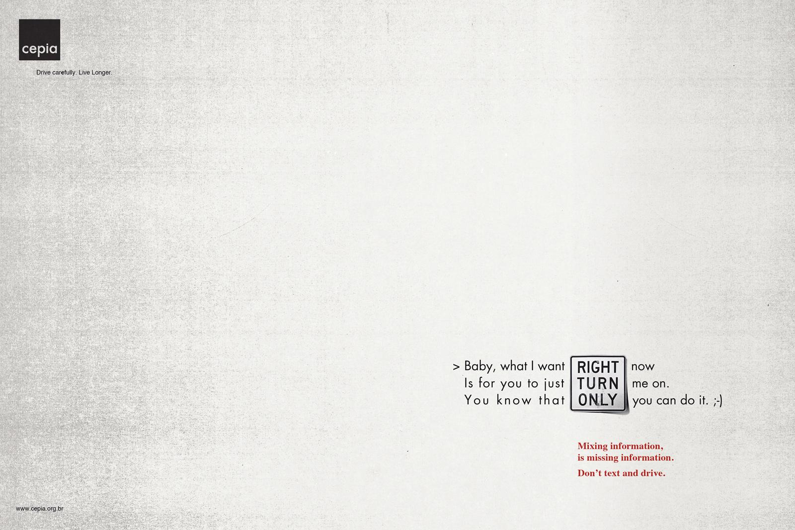 Cepia Print Ad -  Right Turn Only