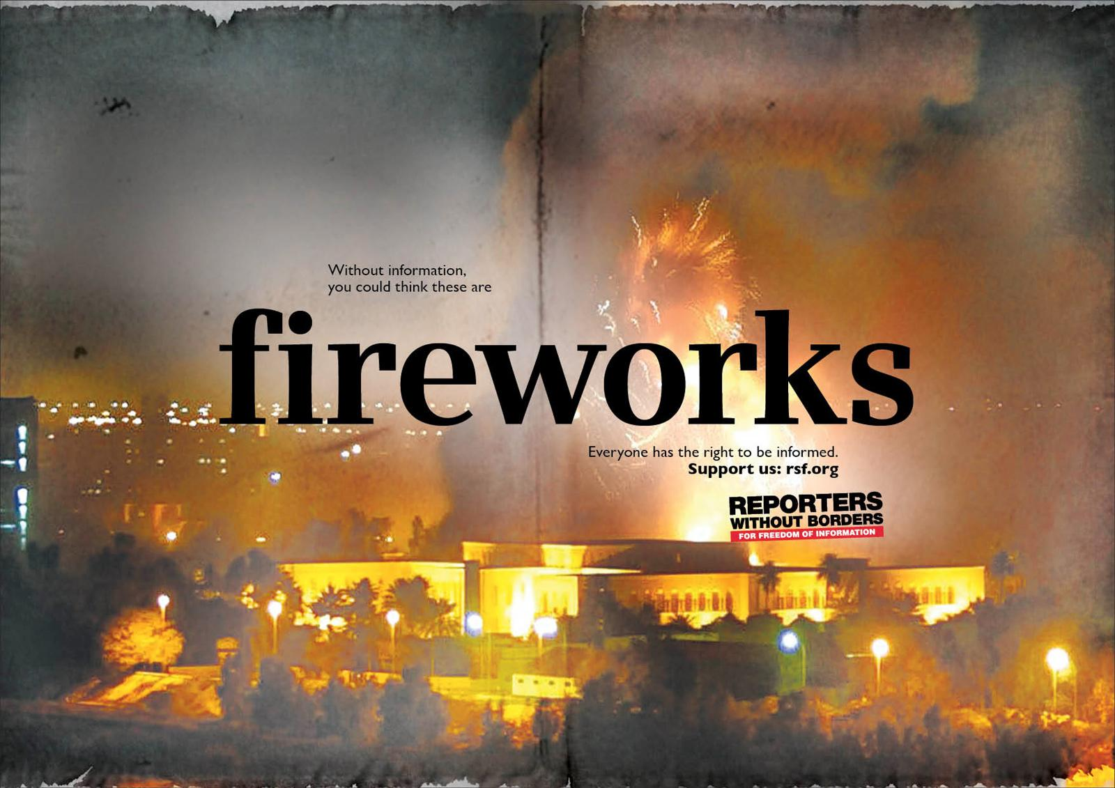 Reporters Without Borders Print Ad -  Fireworks