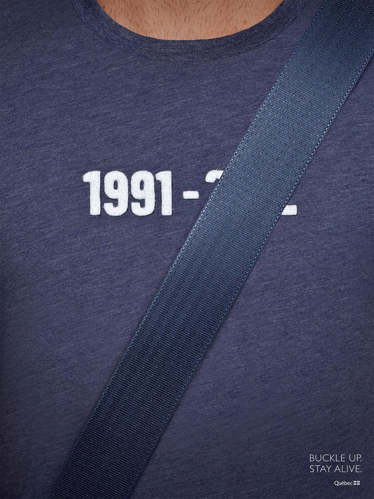 Quebec Automobile Insurance Society Print Ad -  Seatbelts, Blue