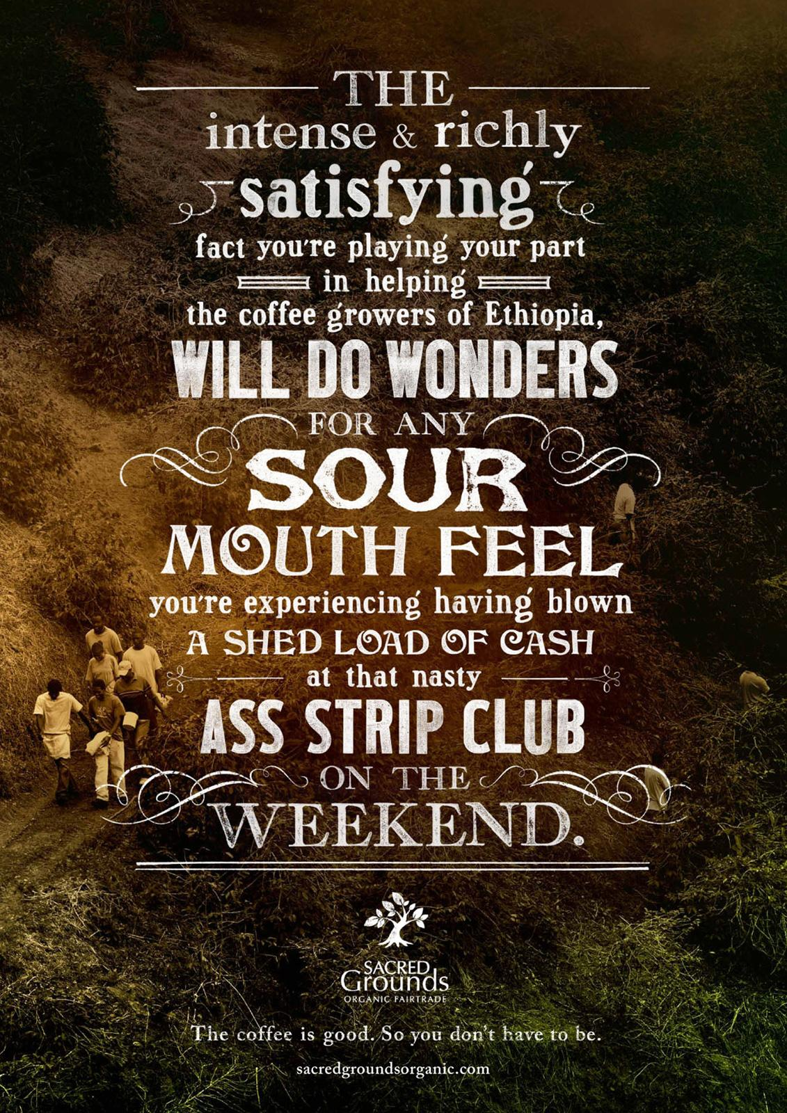 Sacred Grounds Print Ad -  Strip club