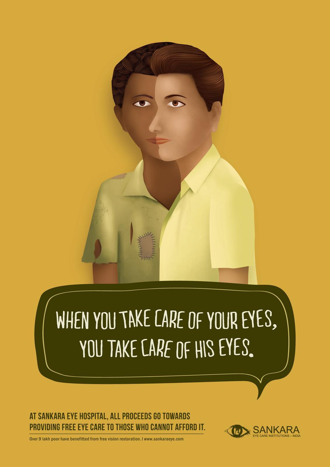 Sankara Eye Hospital Print Ad -  Two Faces, 2