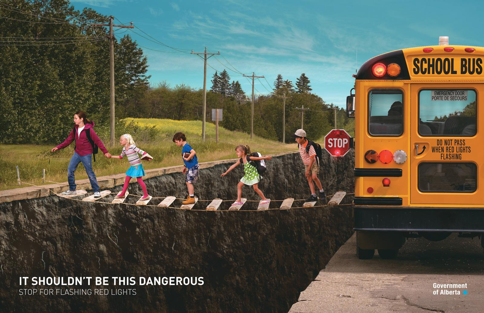 Alberta Office of Traffic Safety Print Ad -  Bus safety