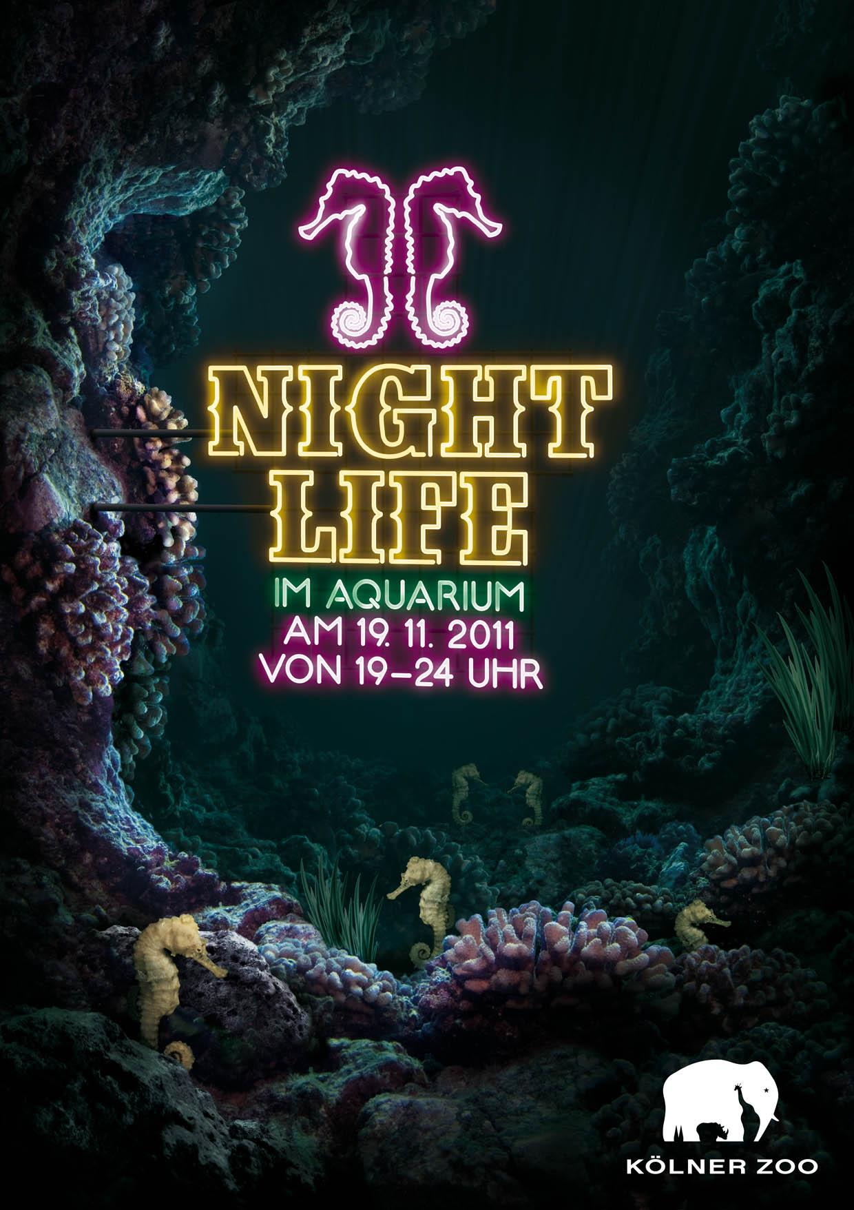 Zoo Cologne Print Ad -  Neon, Seahorse