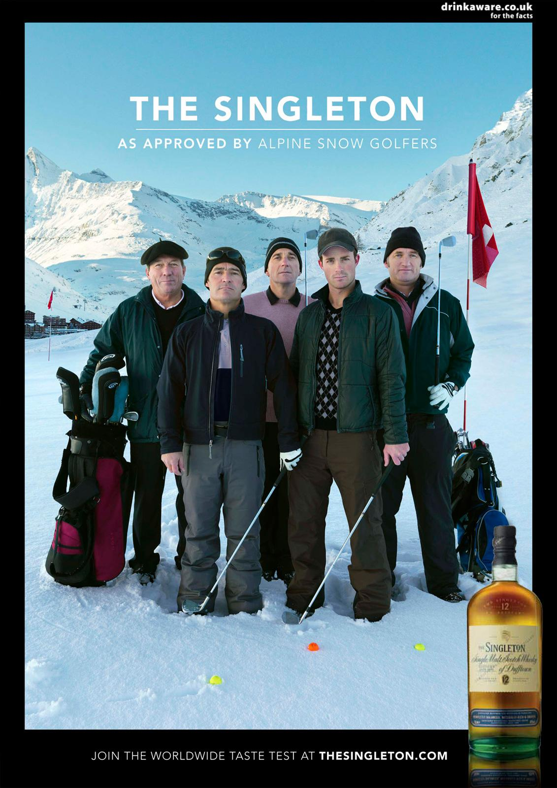 The Singleton Print Ad -  Alpine Snow Golfers