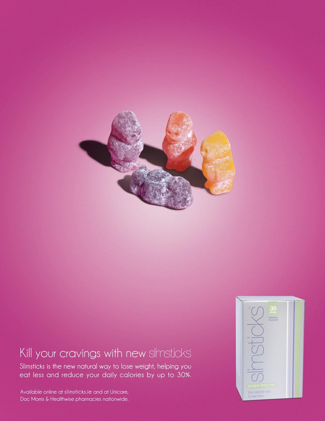 Slimsticks Print Ad -  Kill Your Cravings, Dead Jellybaby