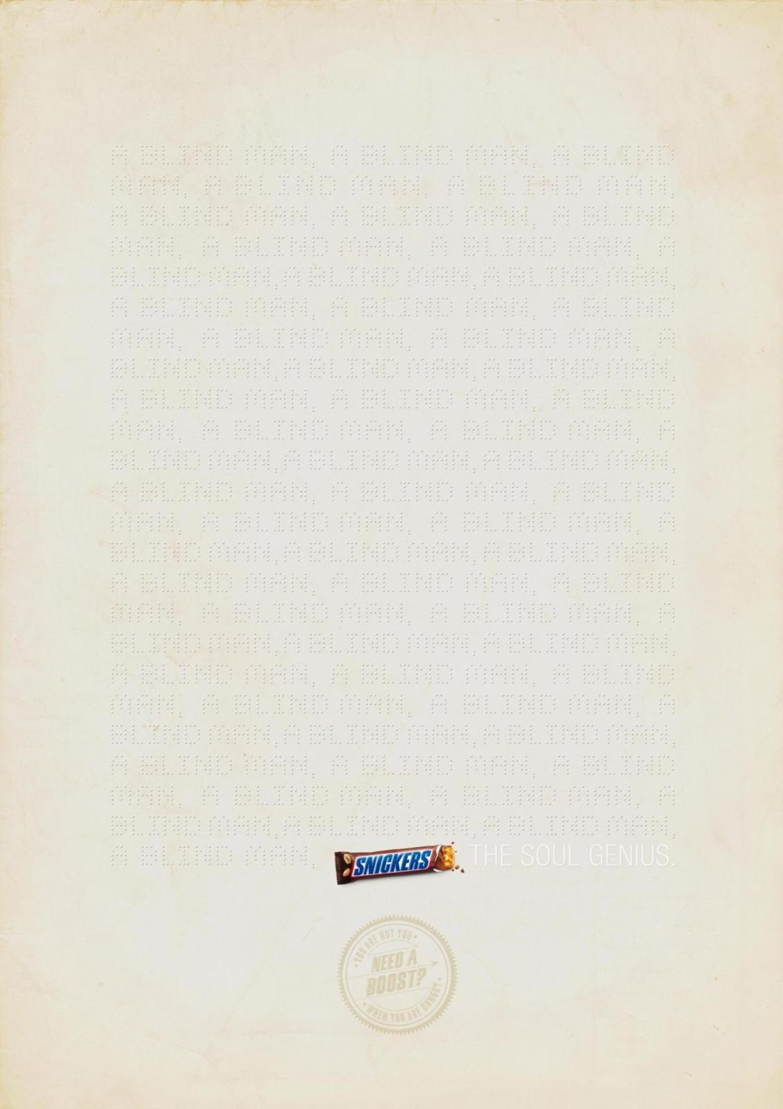 Snickers Print Ad -  Blind Man