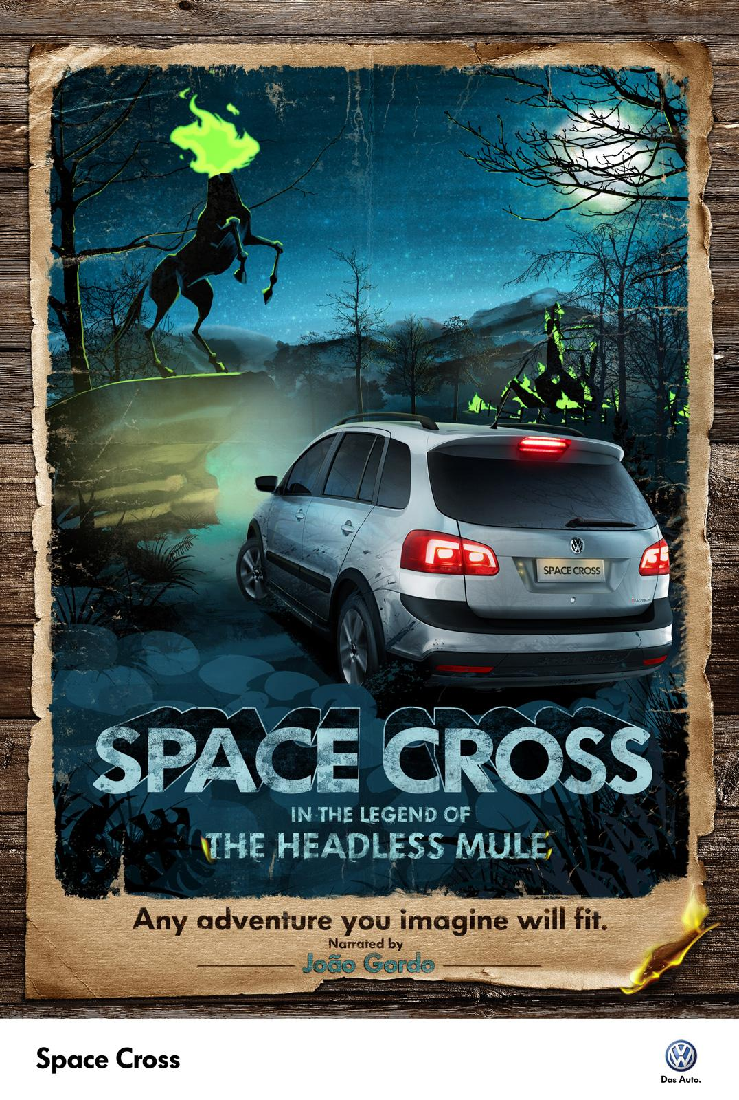 Volkswagen Print Ad -  Space Cross in the legend of the headless mule