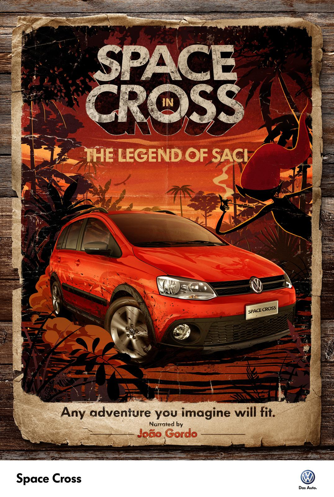 Volkswagen Print Ad -  Space Cross in the legend of saci