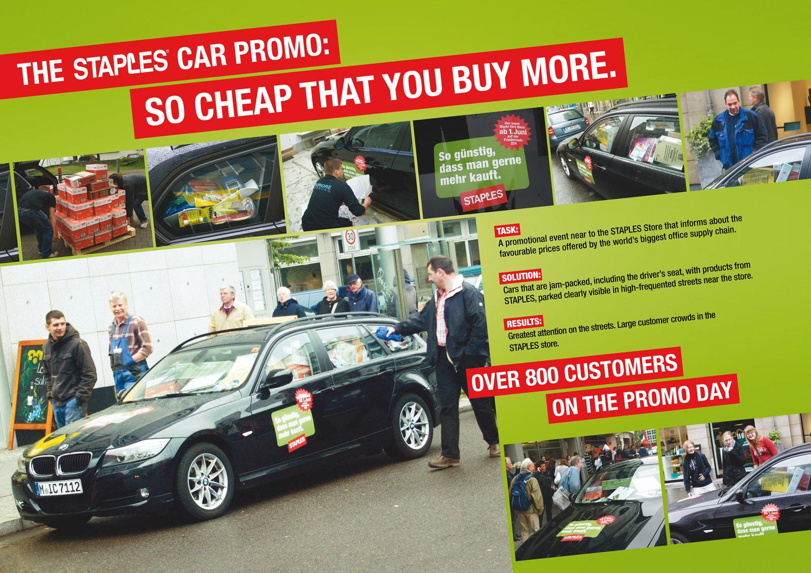 Staples Ambient Ad -  Car-Promo - So cheap that you buy more