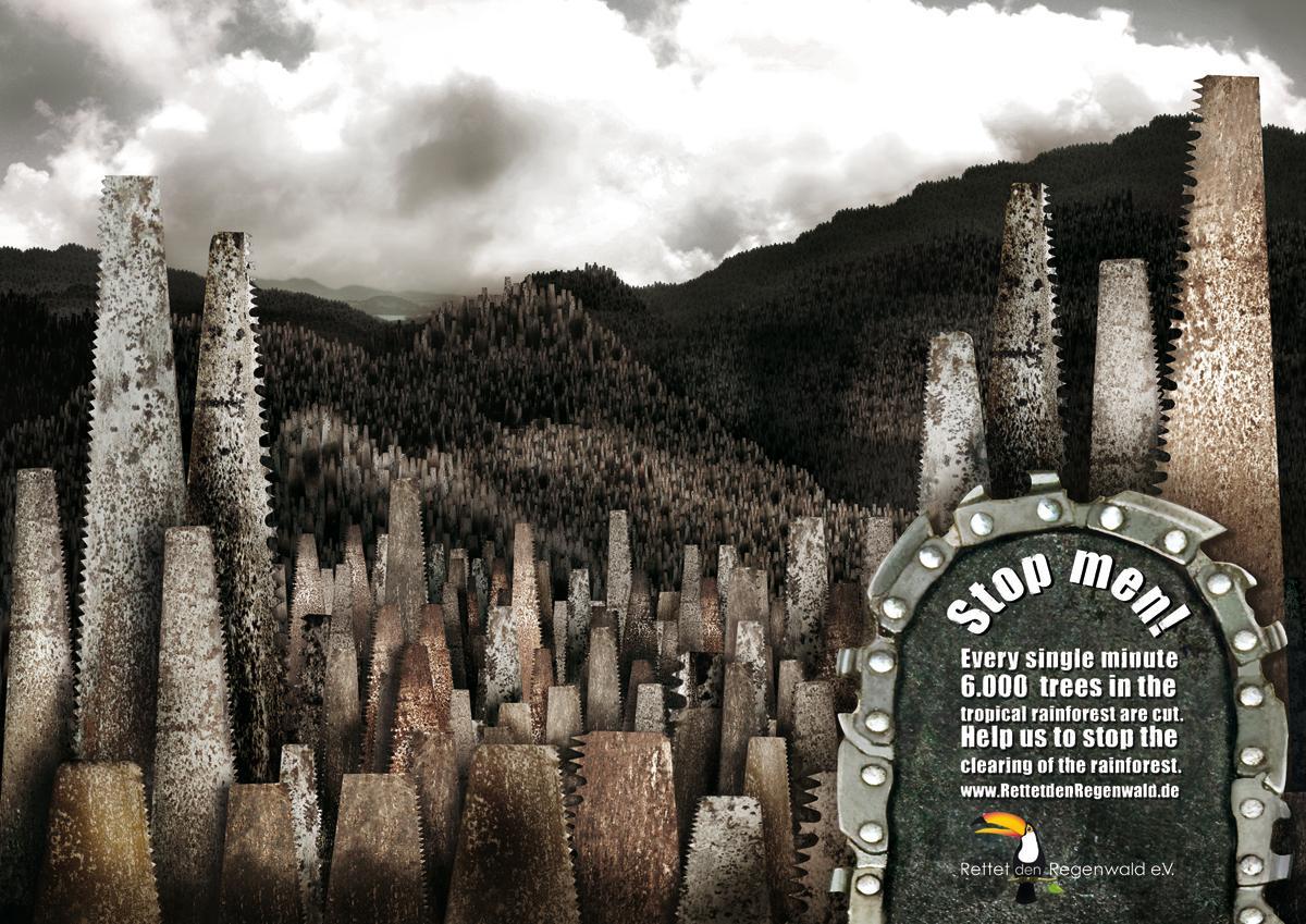 Rettet den Regenwald Print Ad -  Saw Valley