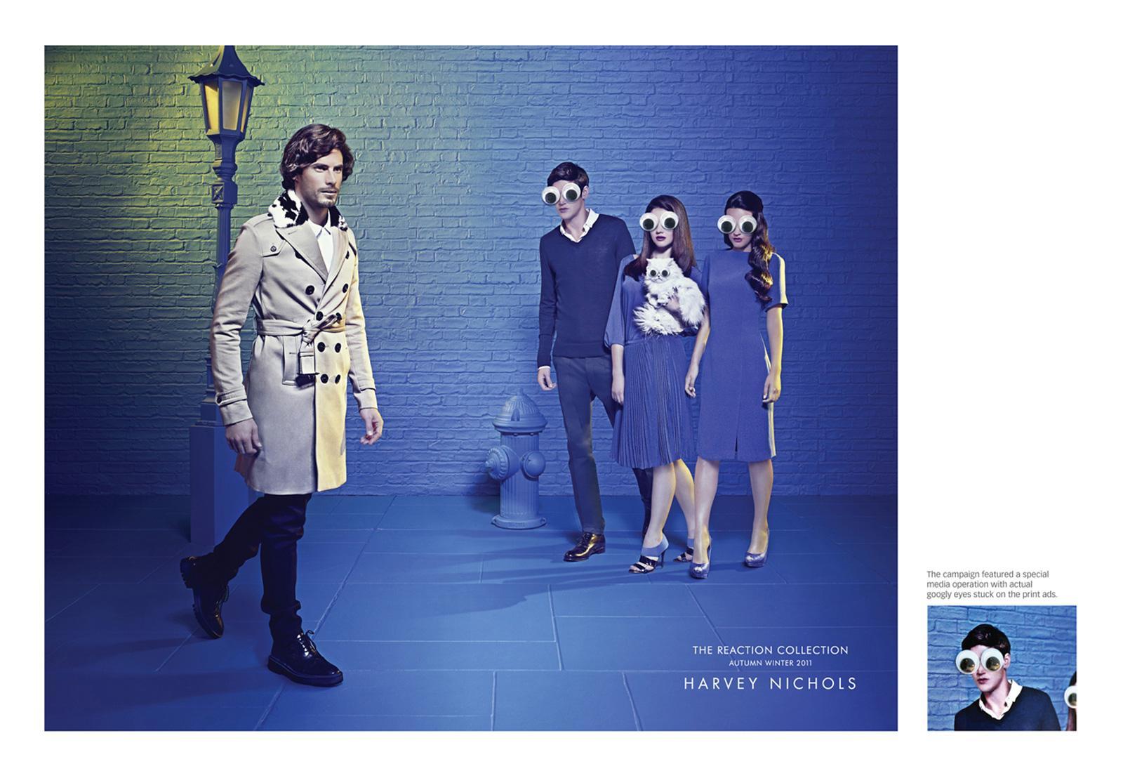 Harvey Nichols Print Ad -  Googly eyes street