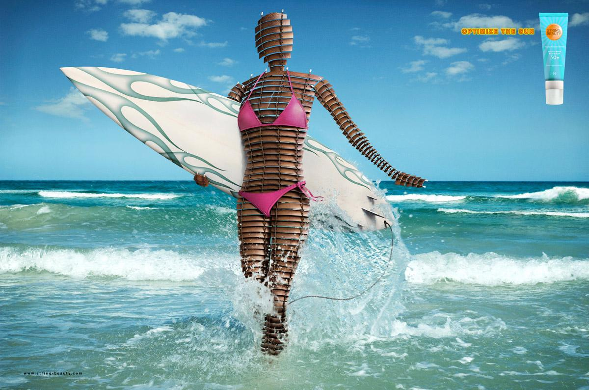 String Beauty Print Ad -  Optimize the sun