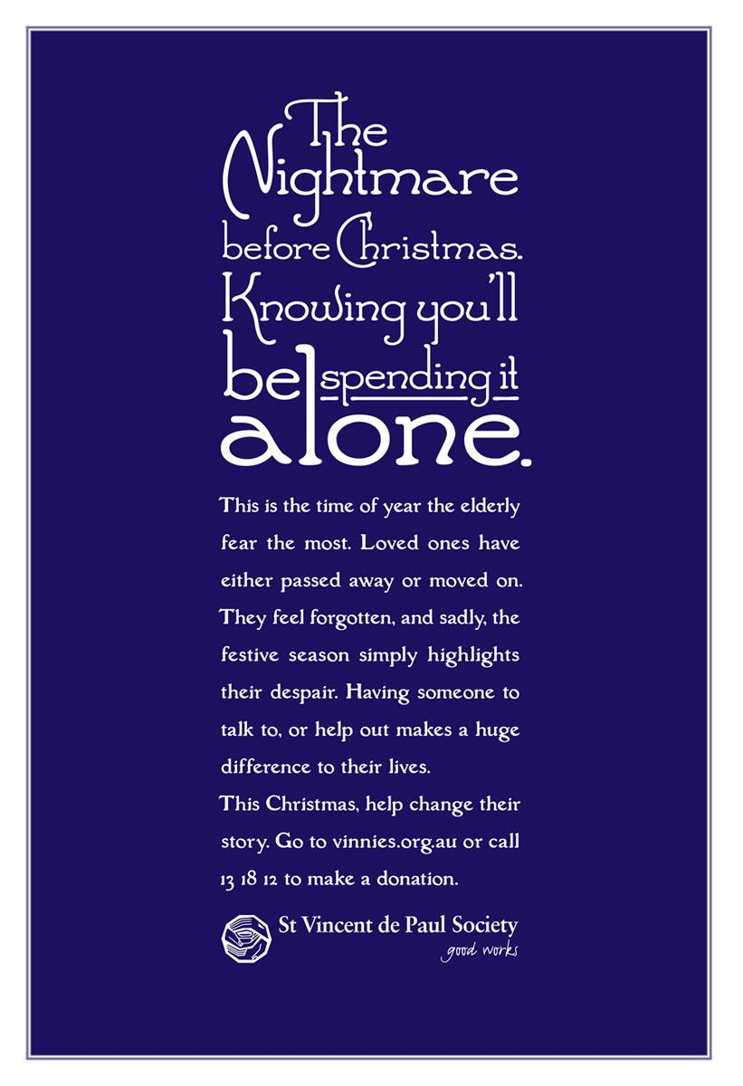 St Vincent de Paul Society Print Ad -  Nightmare before Christmas