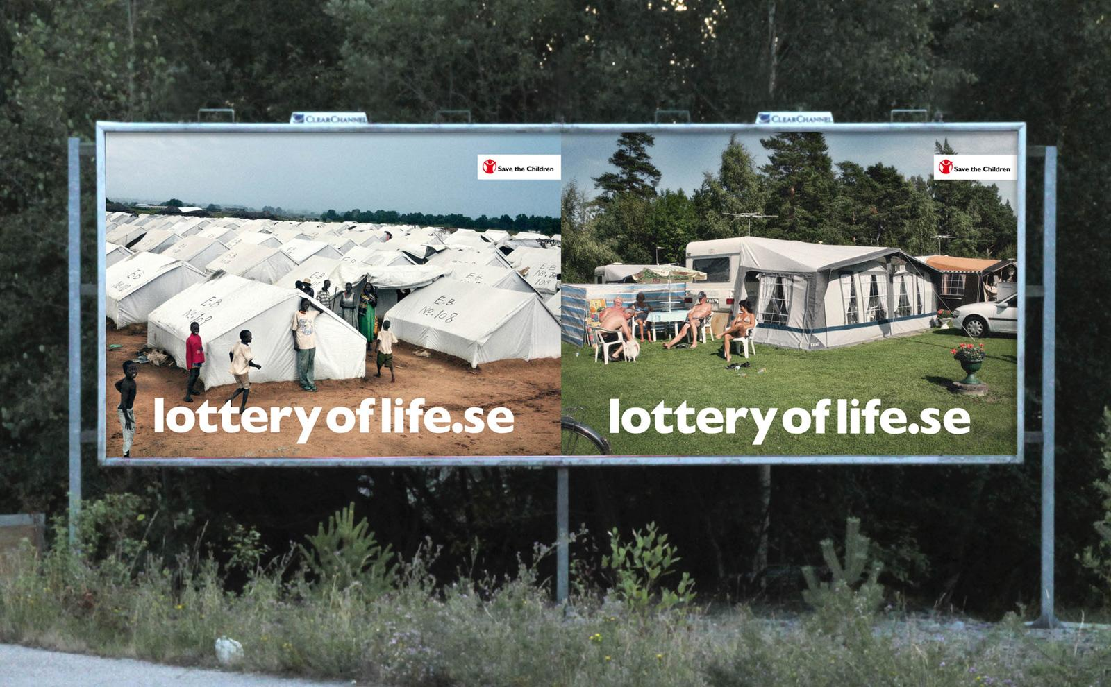 Save the Children Outdoor Ad -  The Lottery of Life, Darfur vs Sweden