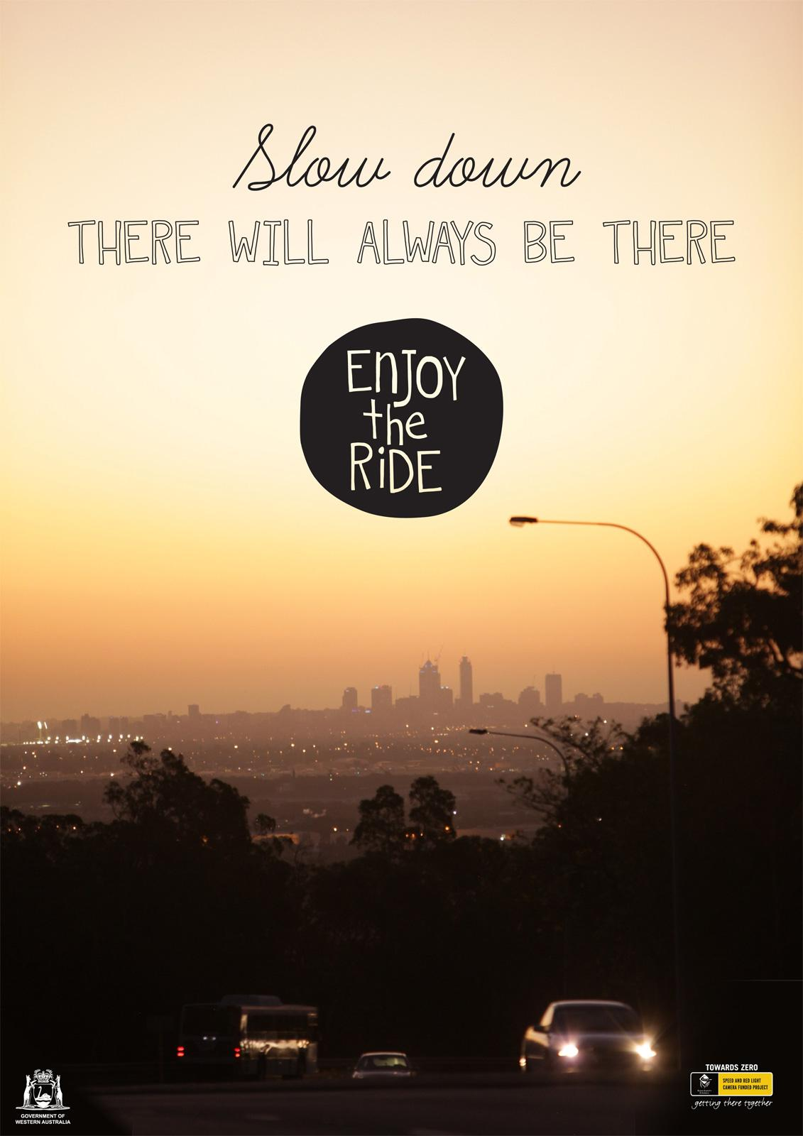 Western Australian Office of Road Safety Print Ad -  Enjoy The Ride, Sunset