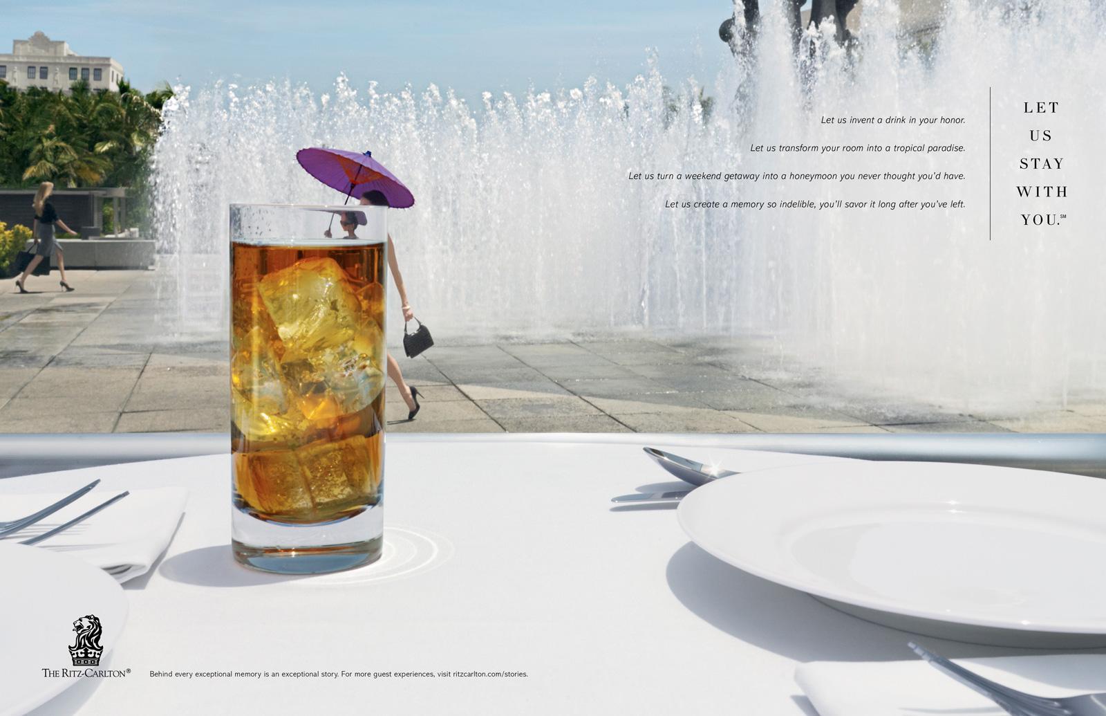 The Ritz-Carlton Print Ad -  Umbrella Drink