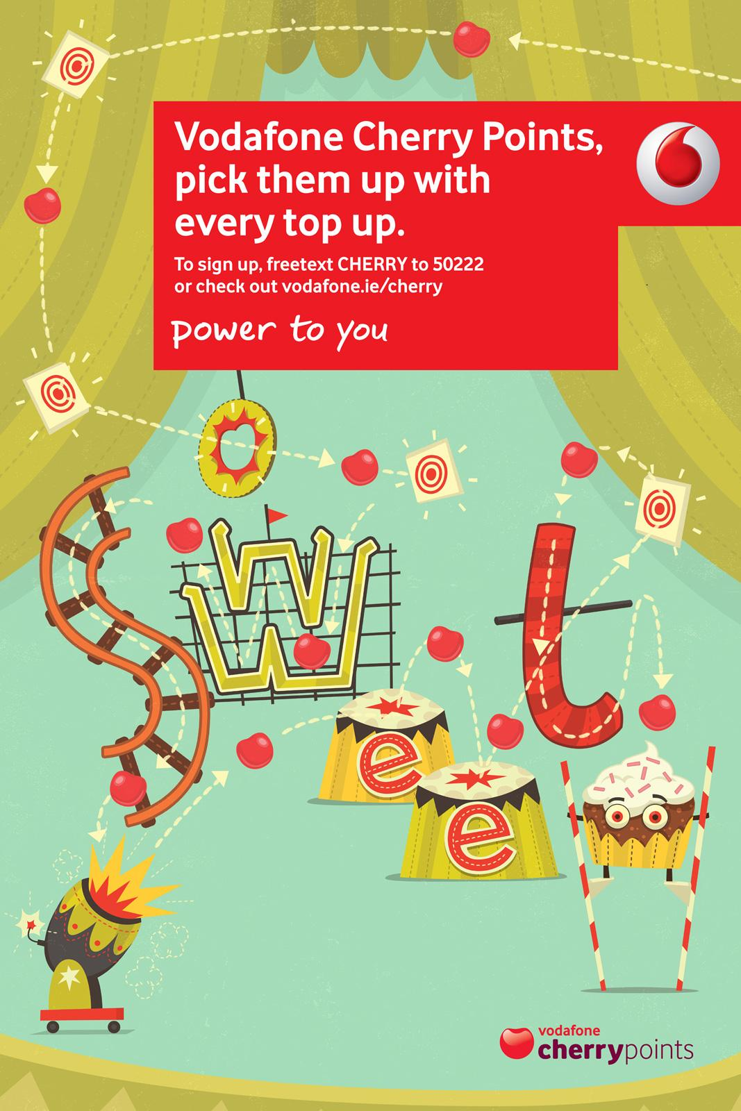 Vodafone Print Ad -  Cherry Points, Circus