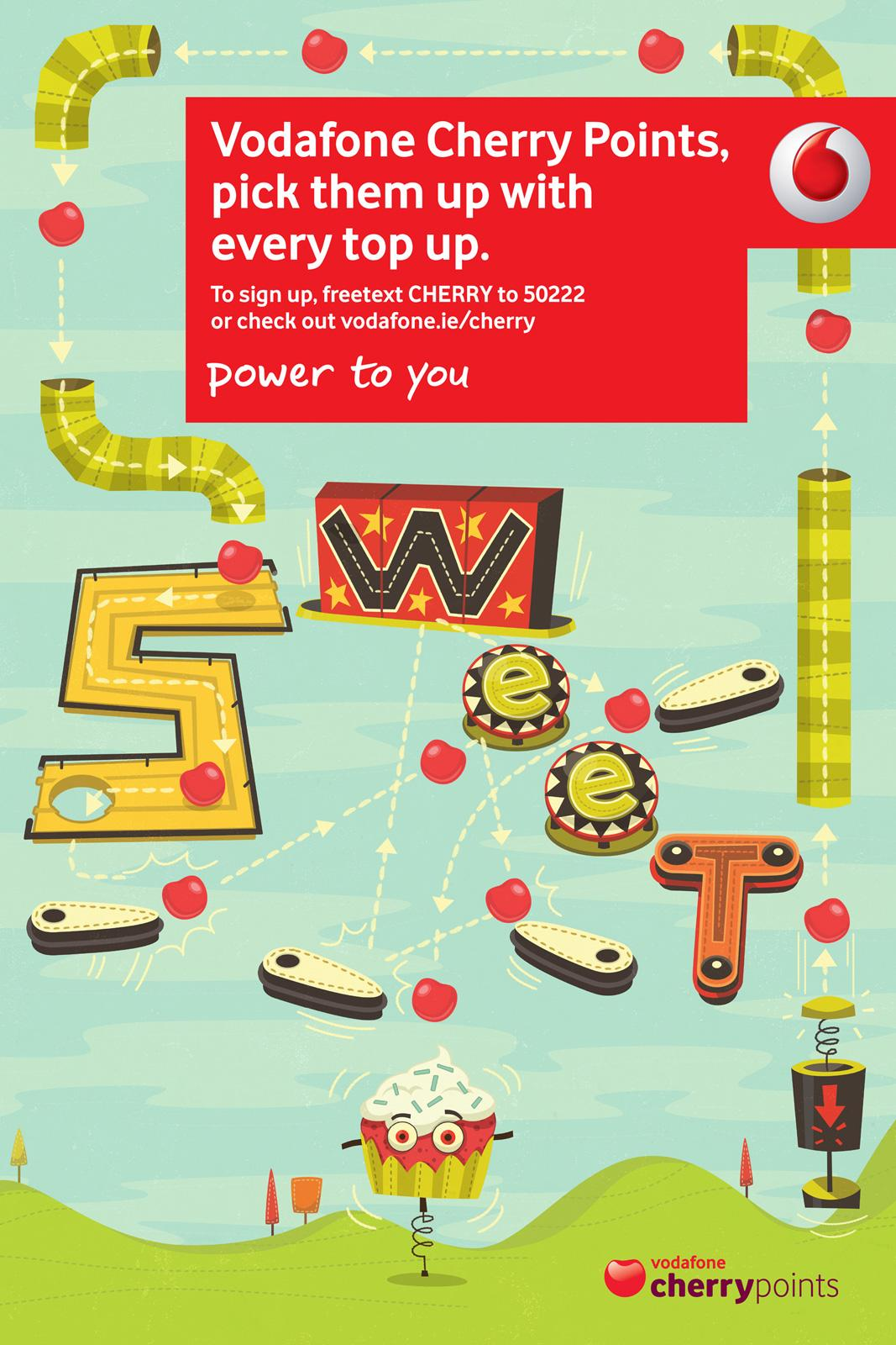 Vodafone Print Ad -  Cherry Points, Pinball