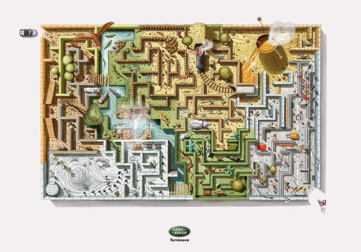 Land Rover Print Ad -  Maze