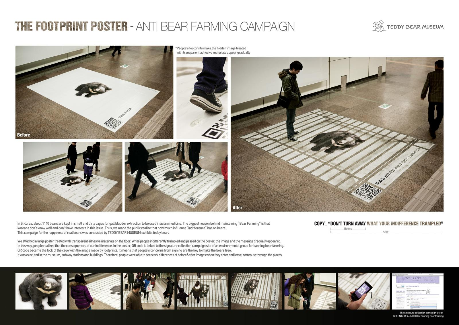 Teddy Bear Museum Ambient Ad -  The footprint poster
