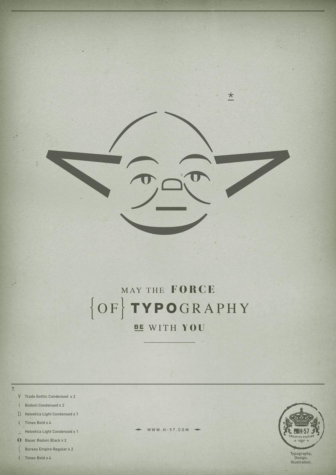 H-57 Print Ad -  The Force of Typography, Yoda
