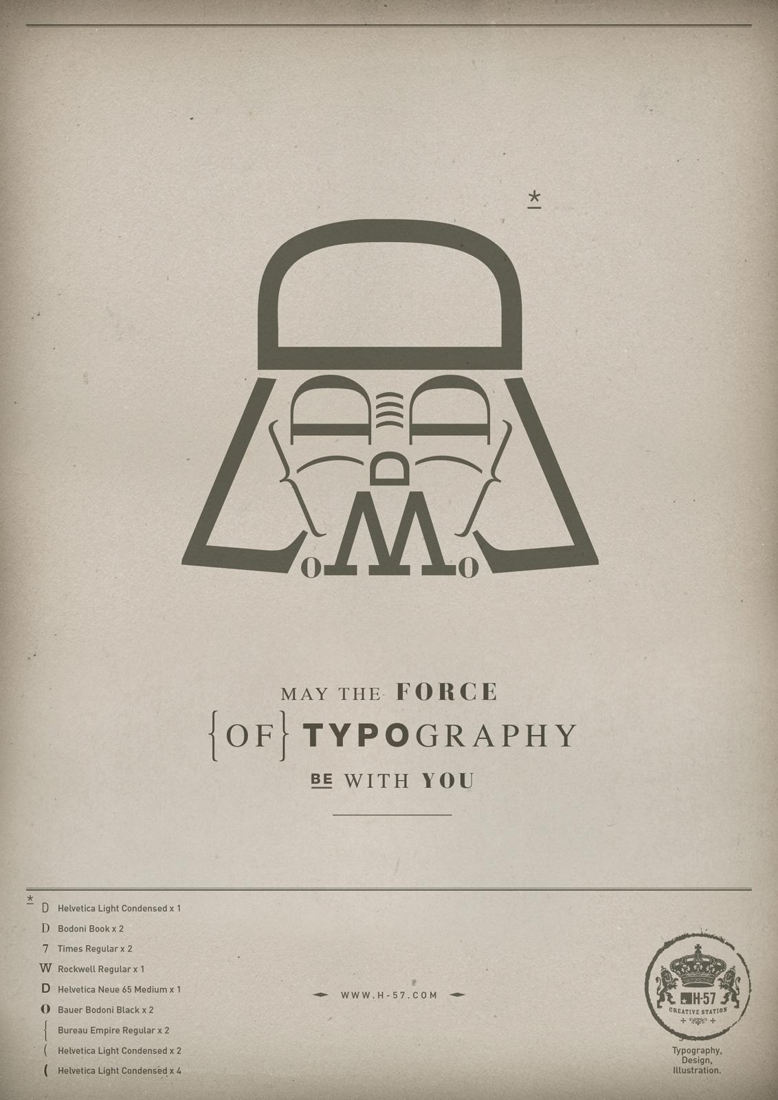 H-57 Print Ad -  The Force of Typography, Darth Vader