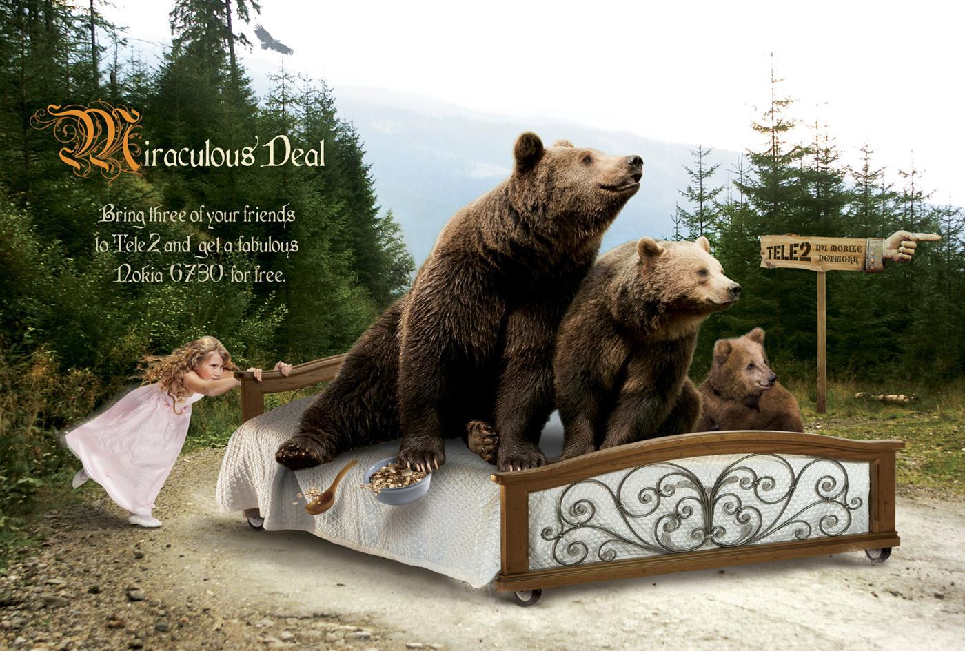 Tele2 Print Ad -  Three bears