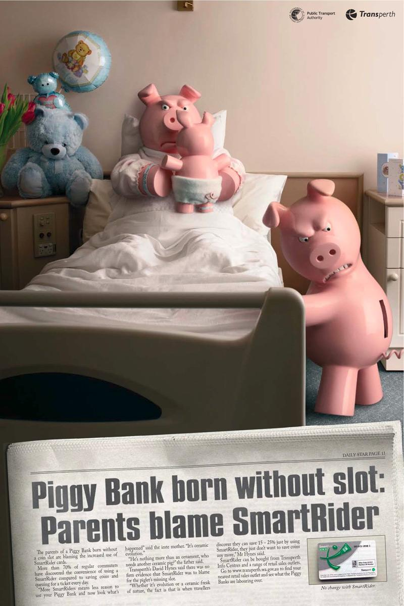 Transperth Print Ad -  Piggy bank without slot