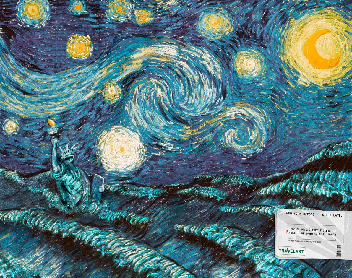 Travelart Print Ad -  New York - Van Gogh