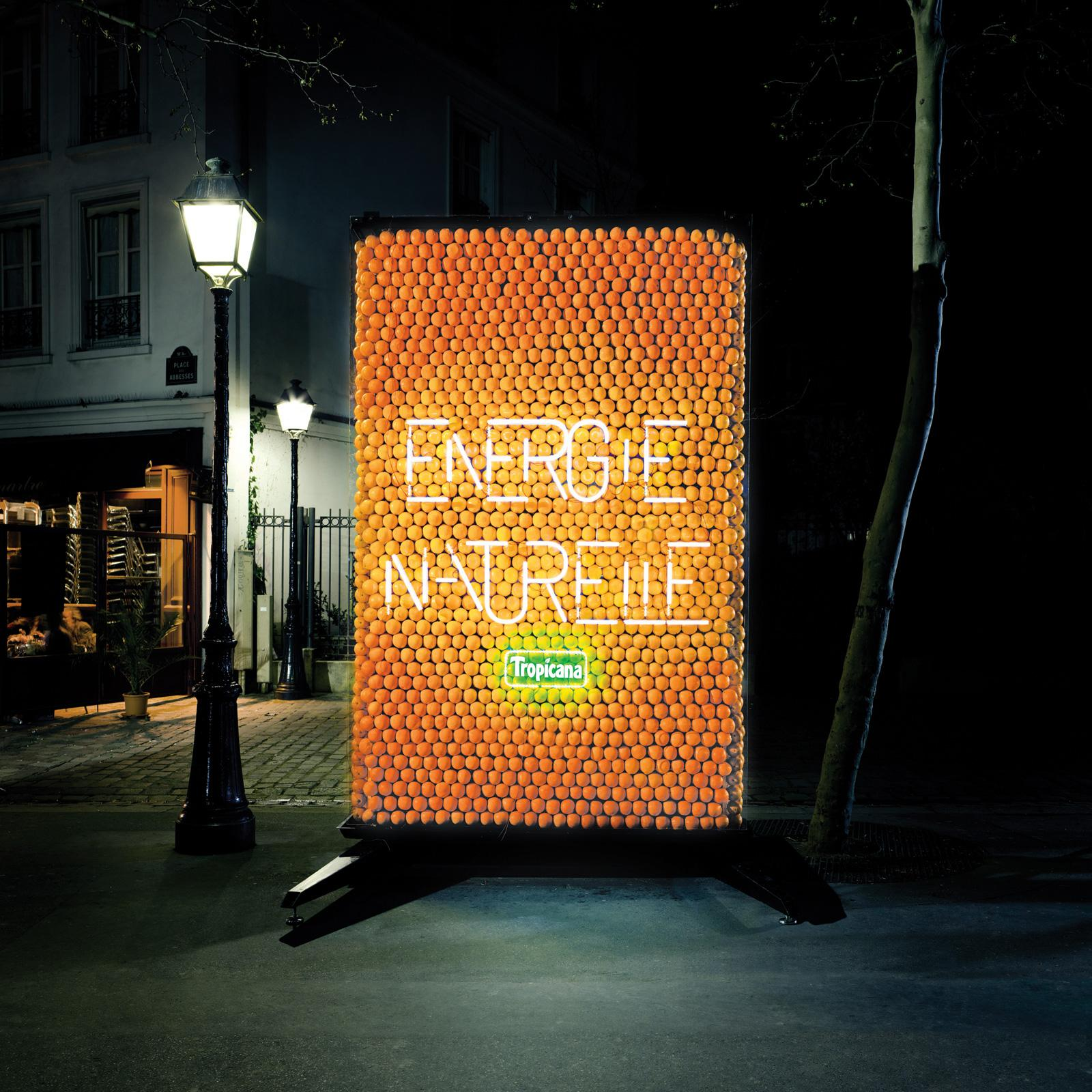 Tropicana Outdoor Ad -  Billboard powered by oranges