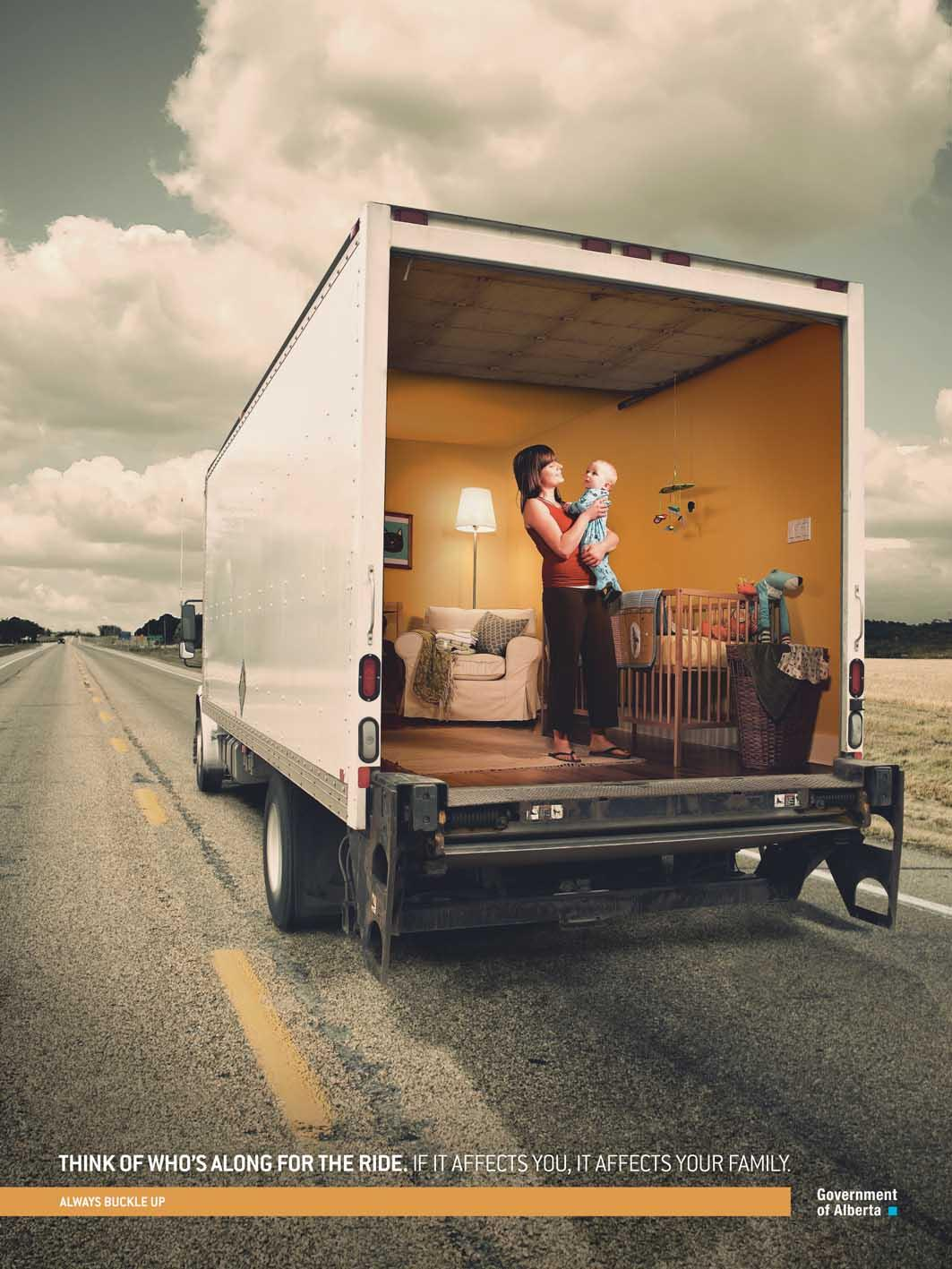Alberta Office of Traffic Safety Print Ad -  Trucker Safety, 1