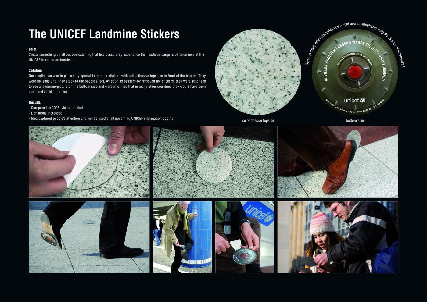 Unicef Ambient Ad -  Landmine stickers