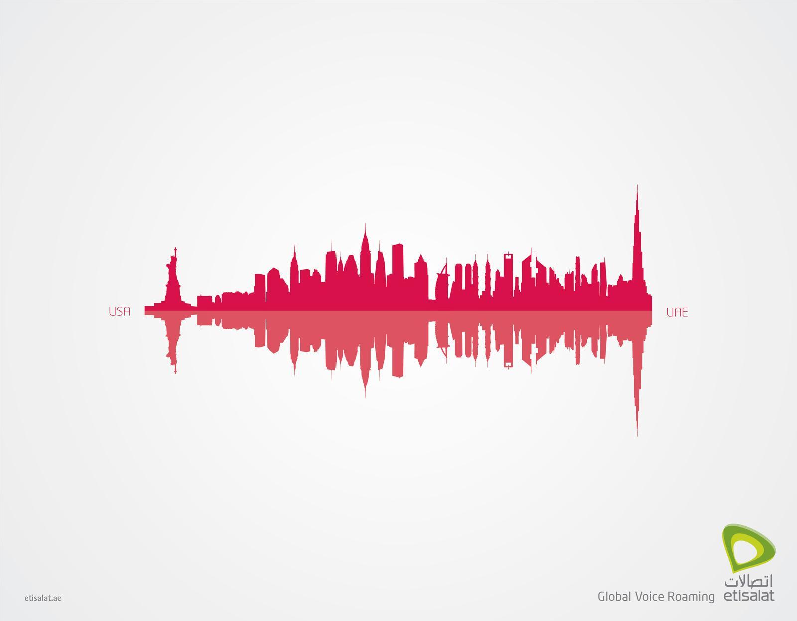 Etisalat Print Ad -  Global Voice Roaming, USA