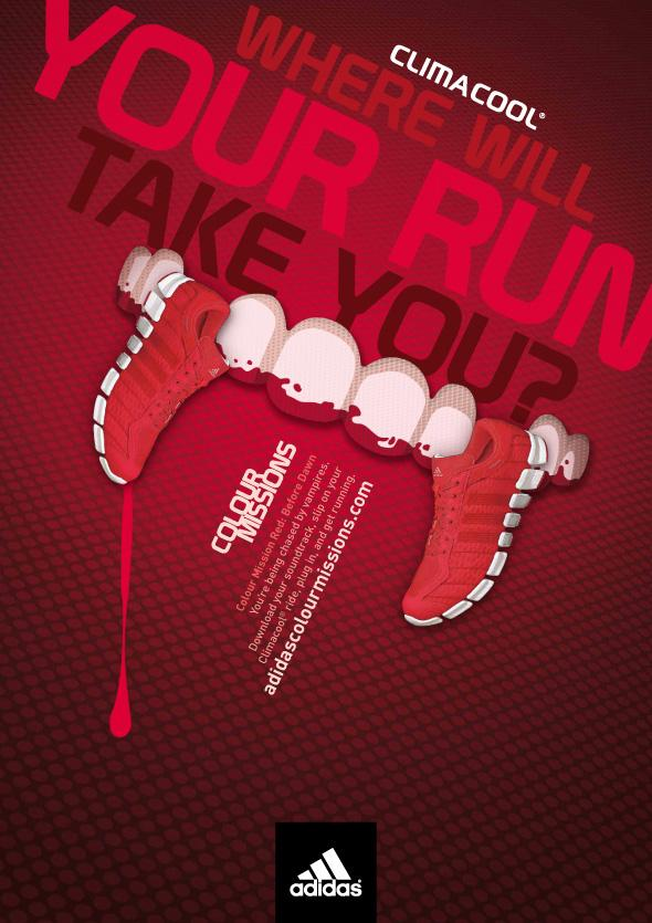 Adidas Print Ad -  Colour Missions, Vampire red