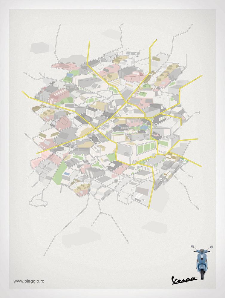 Vespa Print Ad -  Map